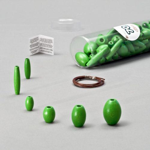 olive in legno verdi per bigiotteria fai da te