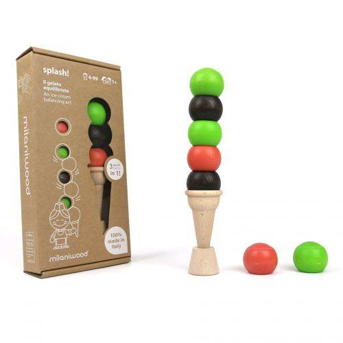 gioco in legno a forma di gelato - regalo ecologico e made in italy